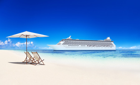 tropical paradise: Cruise Ship by Tropical Paradise Beach