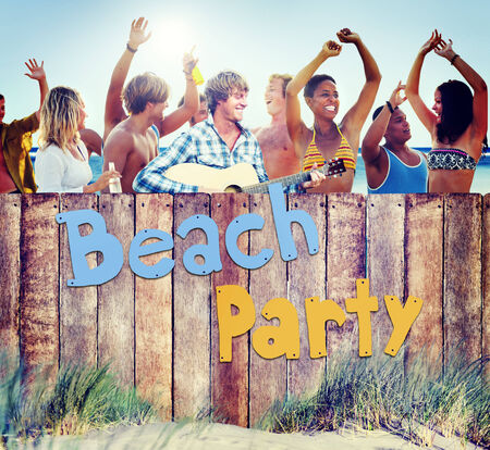 Multi-Ethnic Group of People and Beach Party Concept Stock Photo