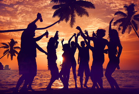 Silhouettes of Diverse Multiethnic People Partying photo