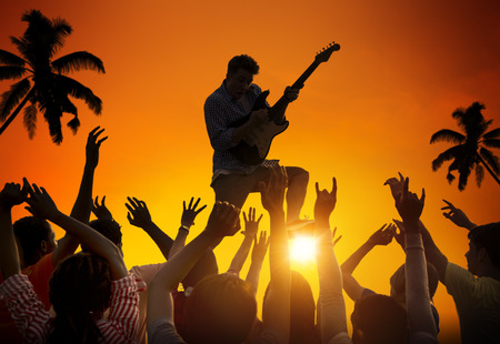 People Enjoying Music Festival Outdoors photo
