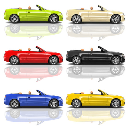 Collection of Multicolored 3D Modern Cars Фото со стока