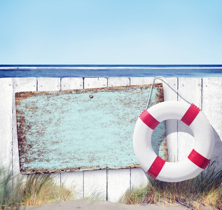no swimming sign: Wooden Fence and Empty Label on Beach Stock Photo