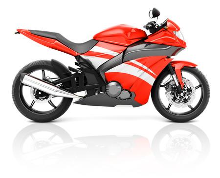 빨간색 현대 오토바이의 3D 이미지 스톡 콘텐츠
