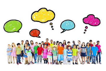 Large Group of Multiethnic Children Speech Bubbles photo