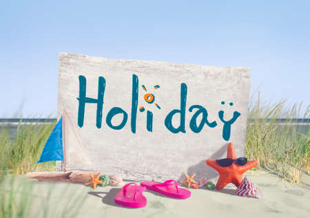 signboard: Holiday Signboard and Summer Props on Beach