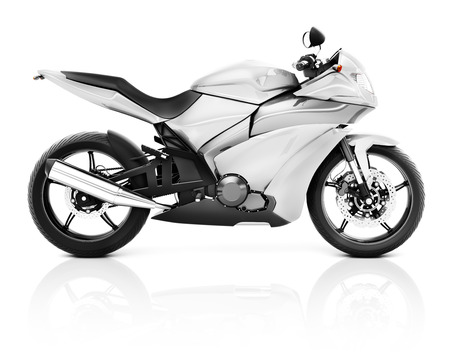 a two wheeled vehicle: 3D Image of a White Modern Motorbike