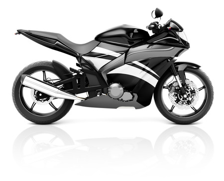 a two wheeled vehicle: 3D Image of a Black Modern Motorbike