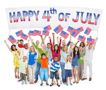 tradition: Diverse Cheerful People Celebrating Independence Day Stock Photo