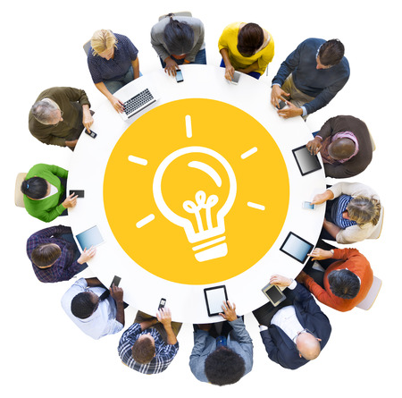 Diverse People Using Digital Devices with Ideas Symbol