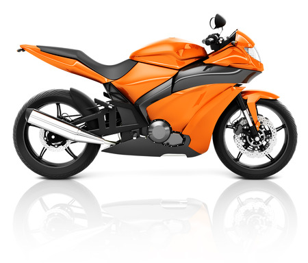 a two wheeled vehicle: 3D Image of an Orange Modern Motorbike Stock Photo