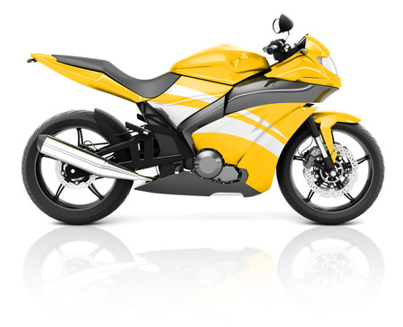 a two wheeled vehicle: 3D Image of a Yellow Modern Motorbike Stock Photo