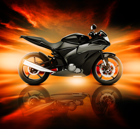 a two wheeled vehicle: 3D Image of Motorcycle with Skyline Horizon Stock Photo