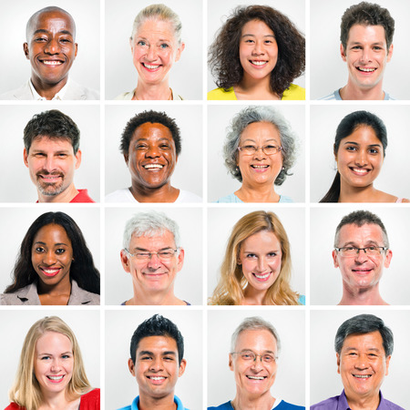 facial: Collection Of Happy Multi-Ethnic People