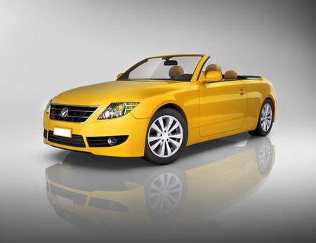 Studio shot of three-dimensional yellow convertible  photo