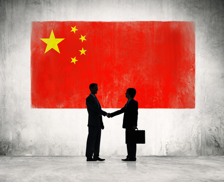 chinese flag: Business people shaking hand in China  Stock Photo