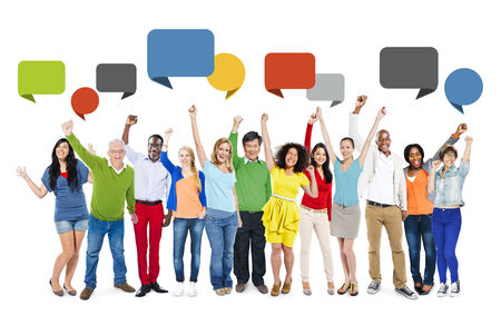 Multi-Ethnic People Arms Raised and Speech Bubble  photo
