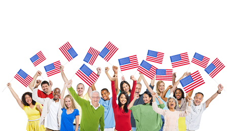 as one: People from different countries united as one for America