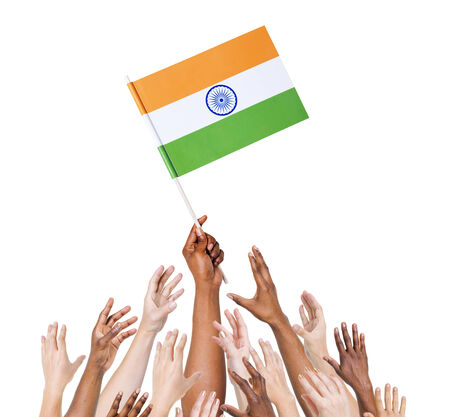 Multi-Ethnic Arms Raised for the Flag of India Stock Photo - 29626020