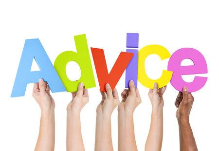 Multi Ethnic People Holding The Word Advice Stock Photo