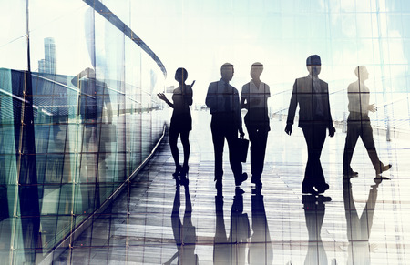 expertise concept: Silhouettes of Business People in Blurred Motion Walking