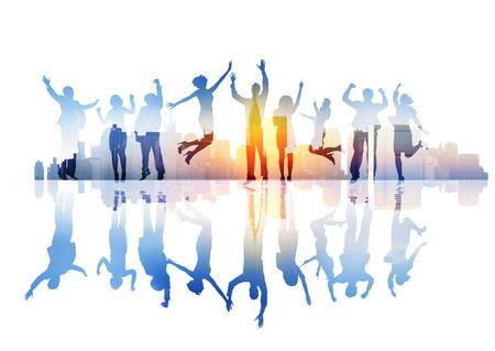 Silhouettes de gens d'affaires Célébration sur une ville Banque d'images - 29627602