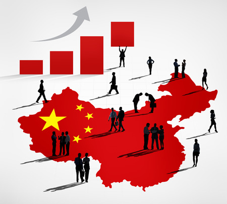 china business: Chinese business themed photo with a group of bussinessmen  Stock Photo
