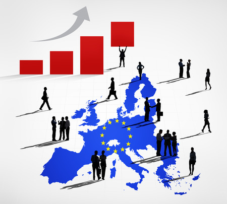 Silhouettes Of Business People On A Blue Cartography Of EU\ And An Increasing Bar Graph