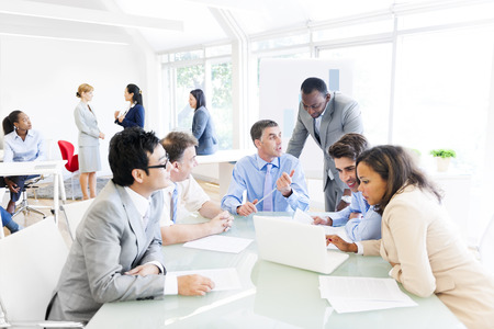 job training: Group of Multi Ethnic Business People Having a Meeting Stock Photo