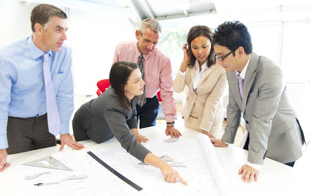 Group of architect people meeting Stock Photo