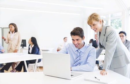 computer: Business People Using Computer in Office Stock Photo