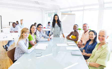Group of Multi Ethnic Cheerful Corporate People Having a Meeting  photo