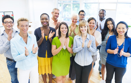 mixed age: Business Group Clapping Stock Photo