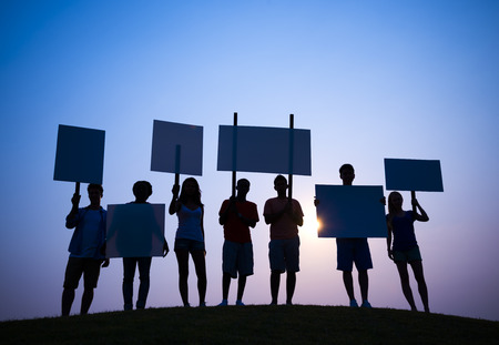 抗議 写真素材