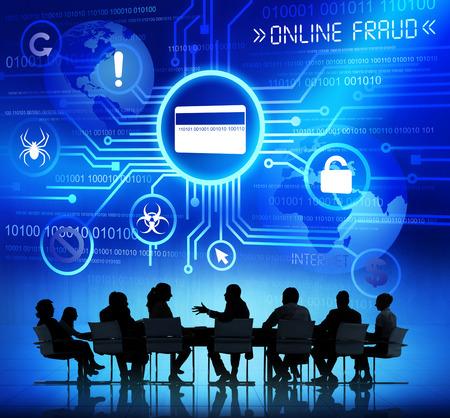 회의 및 온라인 사기 개념을 갖는 사업 사람들의 실루엣