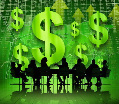 Business people in financial discussion photo