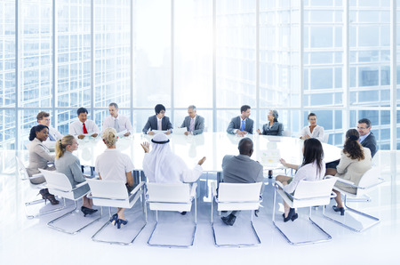 business communication: Group of Business People Meeting in the City