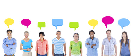 multi-ethnic group of people isolated on white background with speech bubbles.
