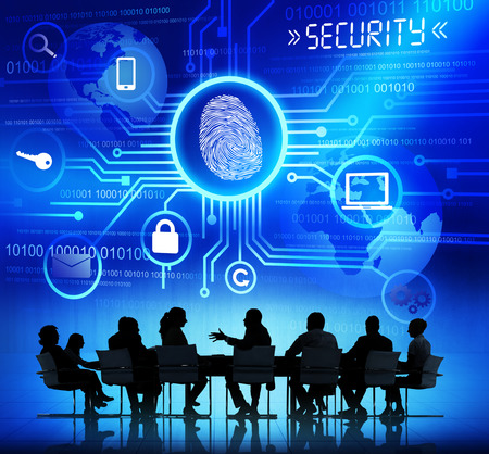 Group of Corporate People Having a Discussion About Global Network Security Imagens - 31289858