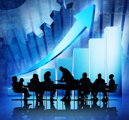 Group of Business People Meeting on Economic Recovery photo