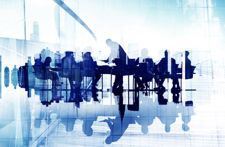 leadership abstract: Abstract Image of Business Peoples Silhouettes in a Meeting