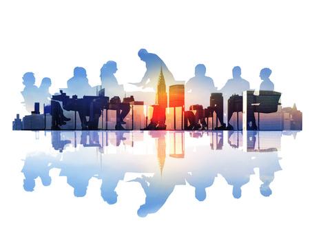 Abstract beeld van Business Meeting in een Cityscape