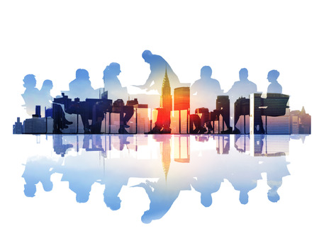 achievement: Abstract Image of Business Meeting in a Cityscape Stock Photo