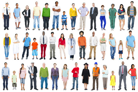 white background: Group of Multiethnic Diverse Mixed Occupation People Stock Photo