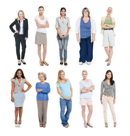 woman in white: Group of Multiethnic Diverse Independent Women Stock Photo