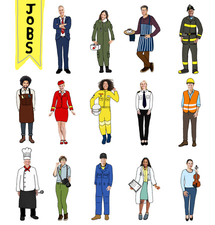 different jobs: Group of Diverse Multiethnic People with Different Jobs