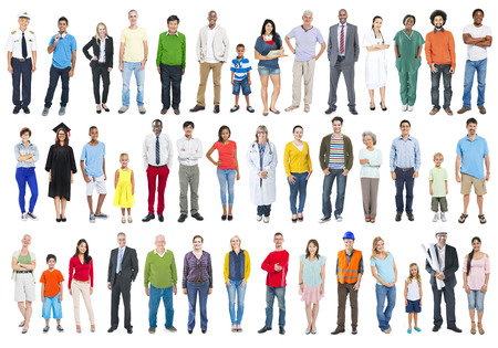 crowds': Group of Multiethnic Diverse Mixed Occupation People Stock Photo