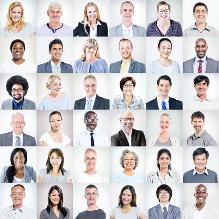 gesicht: Gruppe der multiethnischen Diverse Geschäftsleute