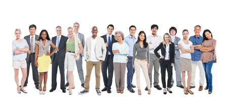 real people: Group of multi-ethnic and diverse occupational people in a white background.