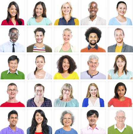 다민족 다채로운 다양한 사람들의 초상화 스톡 콘텐츠