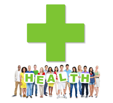 community health: Multi-Ethnic Group Of People Holding Alphabet To Form Health